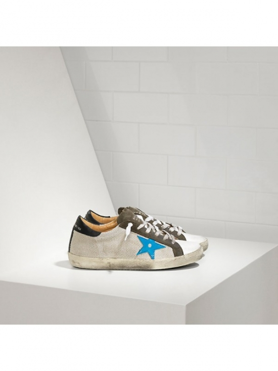 Blue Silver Khaki Superstar Sneakers