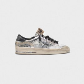 Golden Goose Stardan LTD Sneakers In Laminated Silver With Floral Design Relief G35WS959.D7