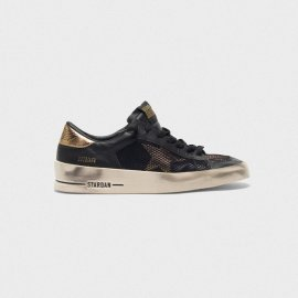 Golden Goose Stardan Sneakers In Black And Gold Leather With Mesh Inserts G35WS959.C2