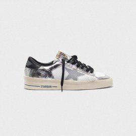 Golden Goose Stardan Sneakers In Laminated Silver With Floral Design Relief G35WS959.D6