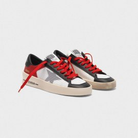 Golden Goose Stardan Sneakers In Red And White Leather With Mesh Inserts G35WS959.C1