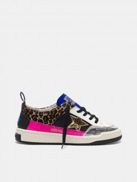 Golden Goose Yeah sneakers in leopard-print pony skin with a gold star G36WS602.A4