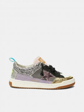 Golden Goose Yeah sneakers in silver mesh with a pink star G36WS602.A3
