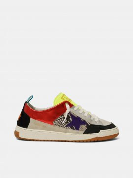 Golden Goose Yeah sneakers with purple star and snakeskin-print insert Red G36MS602.A7