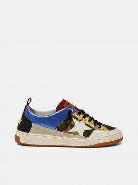 Goolden Goose Yeah sneakers with camouflage and white star Blue G36MS602.A8