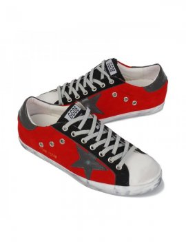 Gray White Red Superstar Sneakers