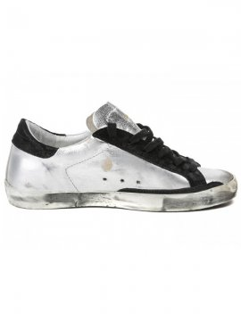 Silver Black Superstar Sneakers