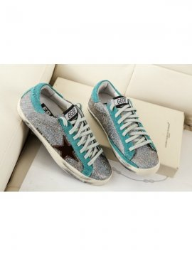 Silver Blue Superstar Sneakers