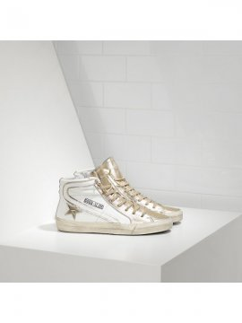 White Gold Slide Sneakers