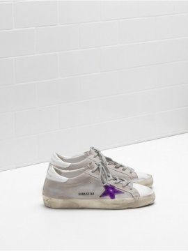 White Purple Superstar Sneakers