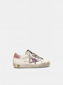 Superstar sneakers with glitter star and heel tab