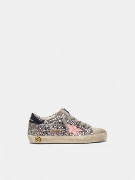 Superstar sneakers in glitter with pink star