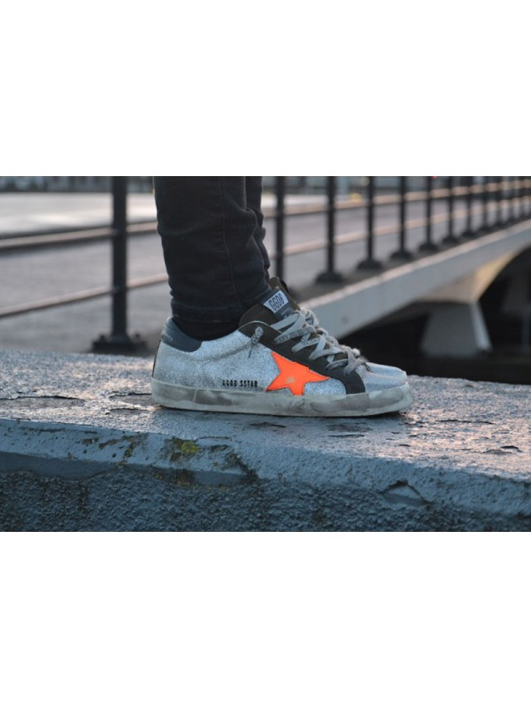 Orange Black Silver Superstar Sneakers