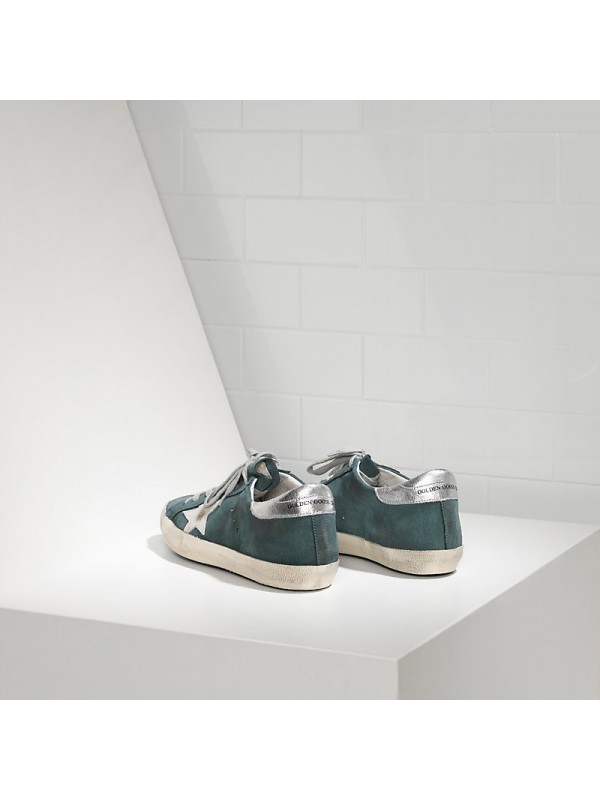 Silver Green Superstar Sneakers